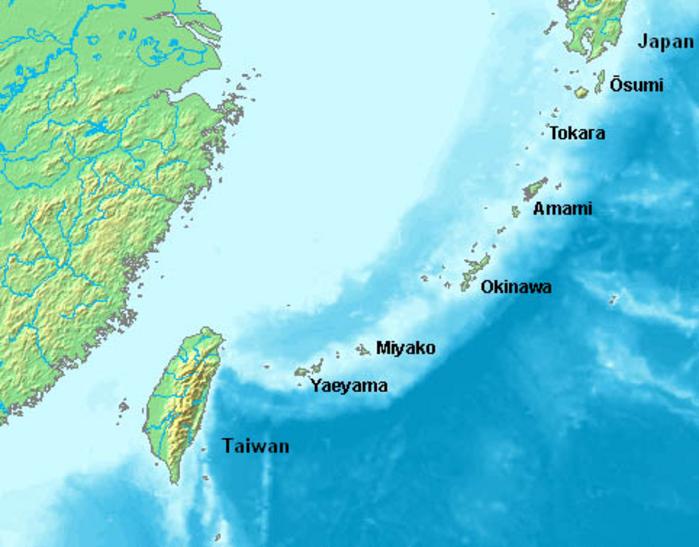 Карта архипелага Рюкю